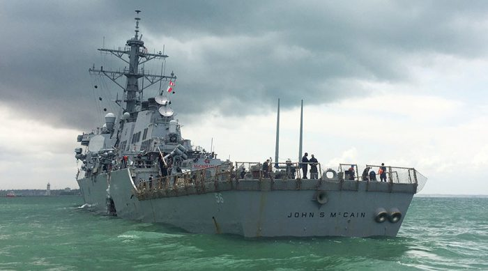 The U.S. Navy guided-missile destroyer USS John S. McCain is seen after a collision, in Singapore waters August 21, 2017. © Ahmad Masood / Reuters